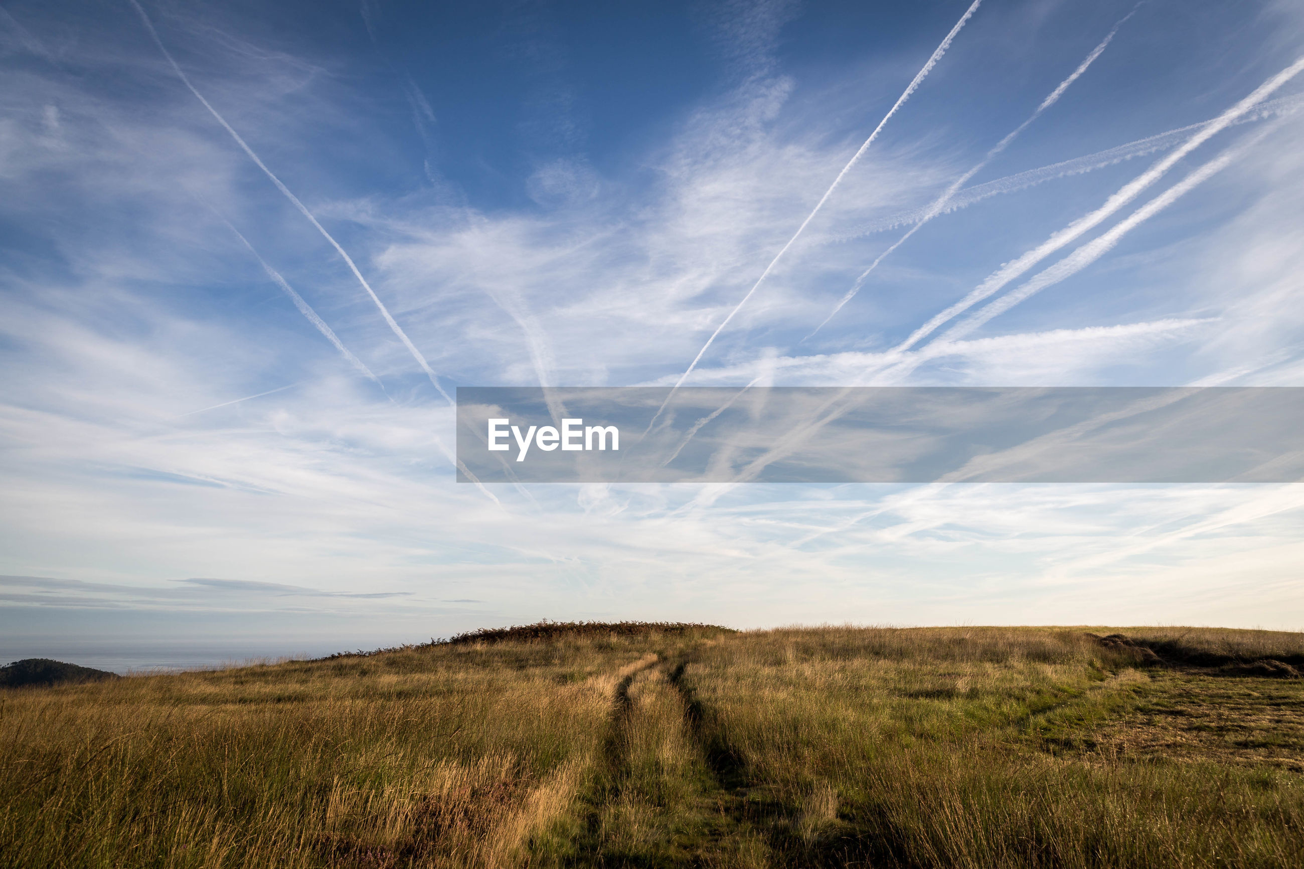 SCENIC VIEW OF FIELD AGAINST VAPOR TRAILS IN SKY
