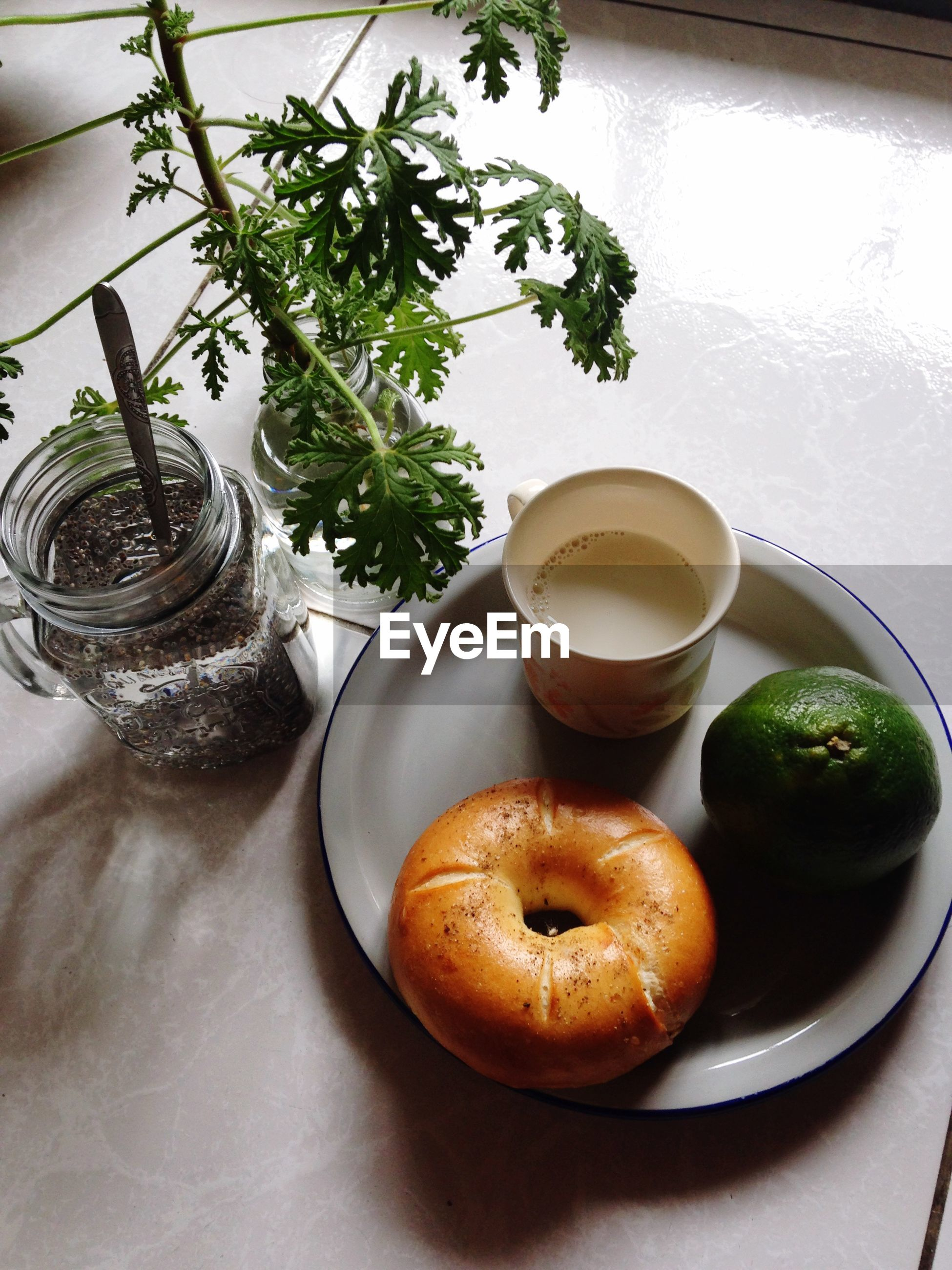 High angle view of breakfast in plate on table