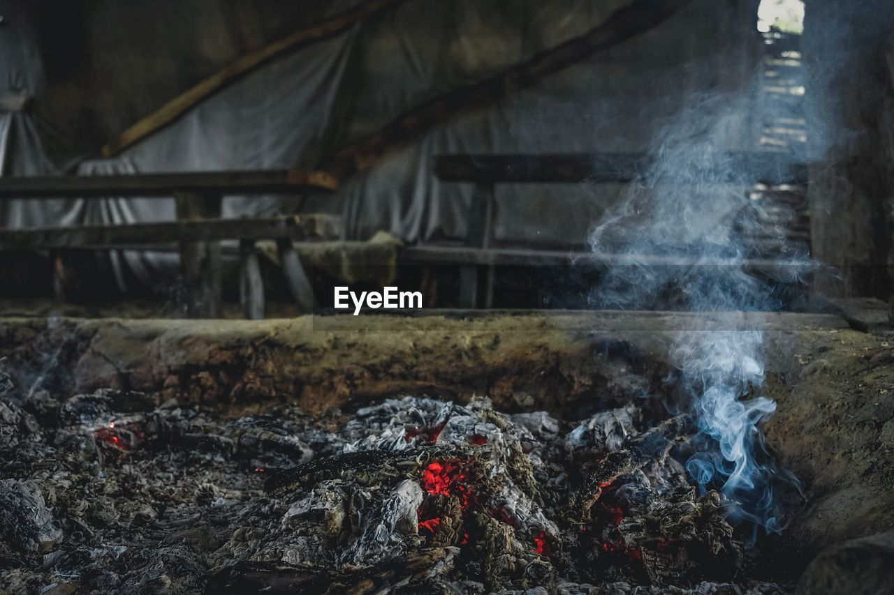 smoke - physical structure, heat - temperature, burning, fire, fire - natural phenomenon, coal, ash, barbecue grill, food, no people, flame, barbecue, food and drink, wood - material, preparation, log, indoors, firewood, preparing food, day, bonfire