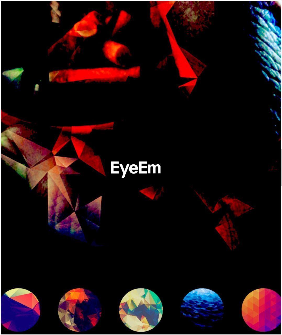 multi colored, no people, close-up, celebration, night, black background, illuminated, indoors
