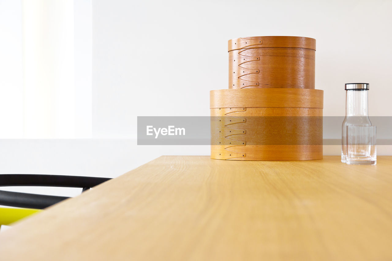 Close-Up Of Wooden Containers On Table