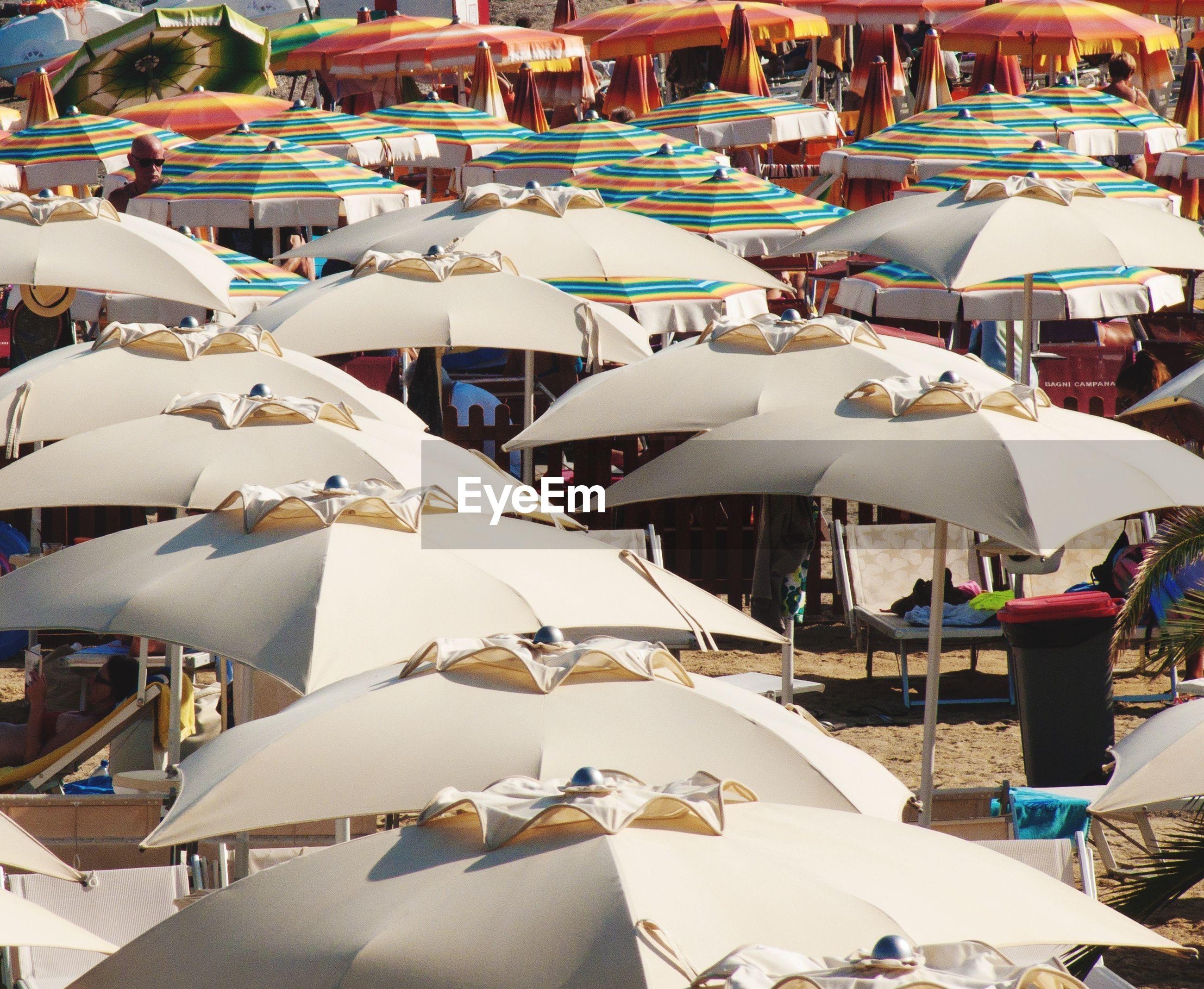 View of umbrellas on beach