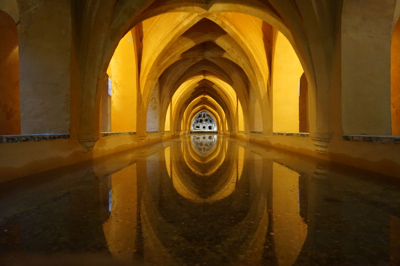 arch, architecture, built structure, yellow, no people, building, reflection, indoors, water, the past, day, history, nature, window, wall - building feature, old, circle, architectural column, wheel, ceiling