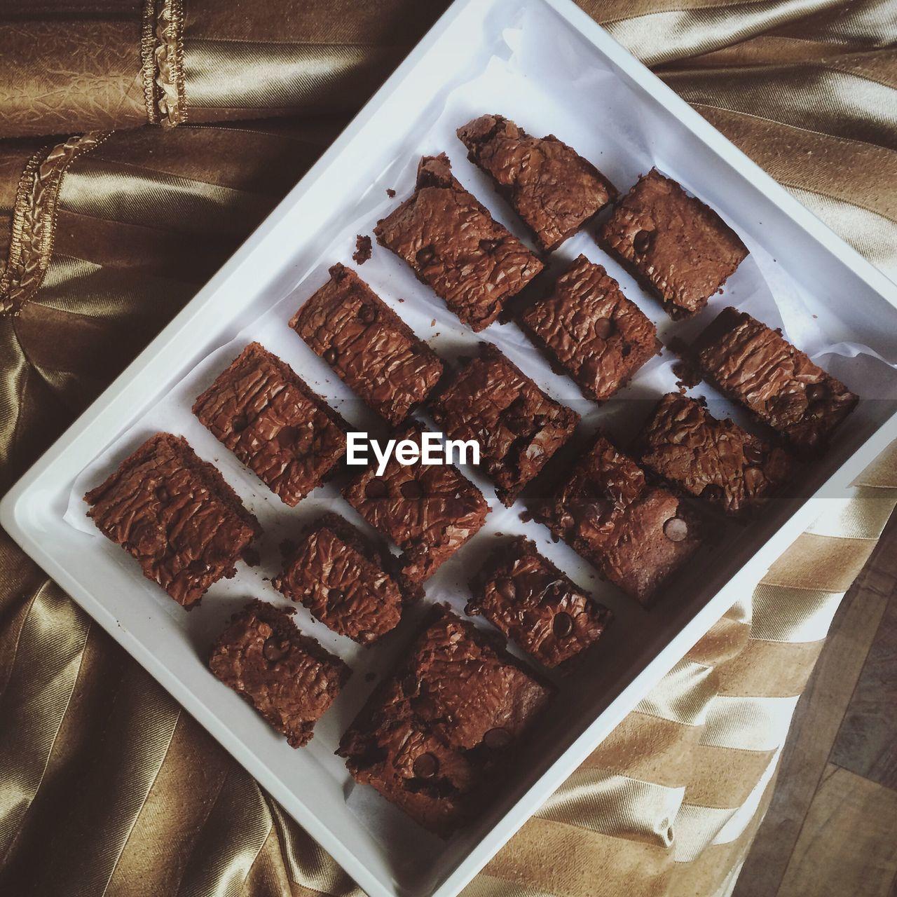 High Angle View Of Brownies