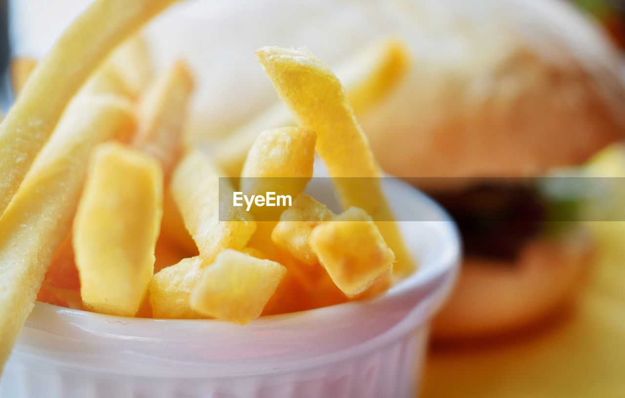 Close-Up Of French Fries With Burger