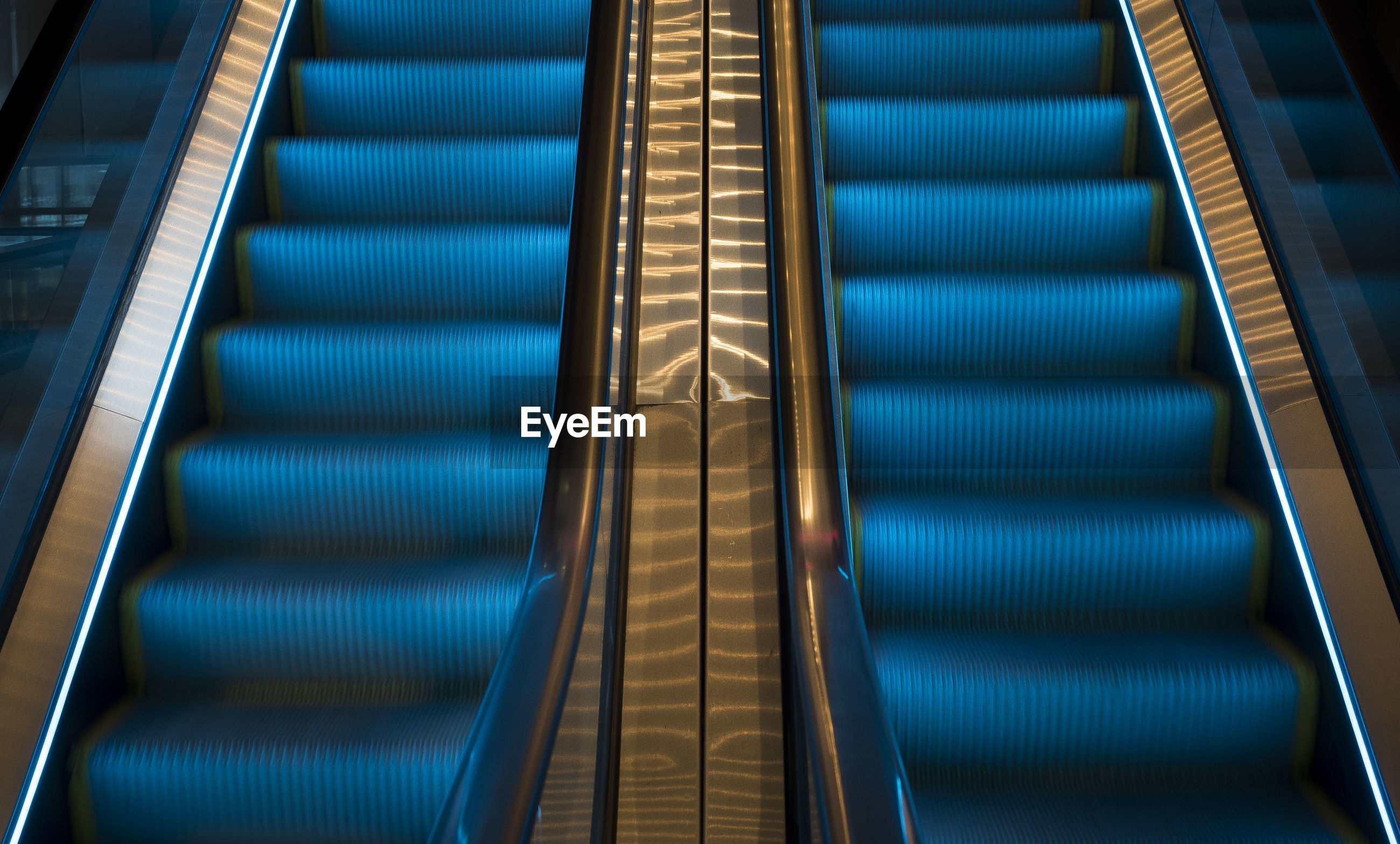 High angle view of escalator
