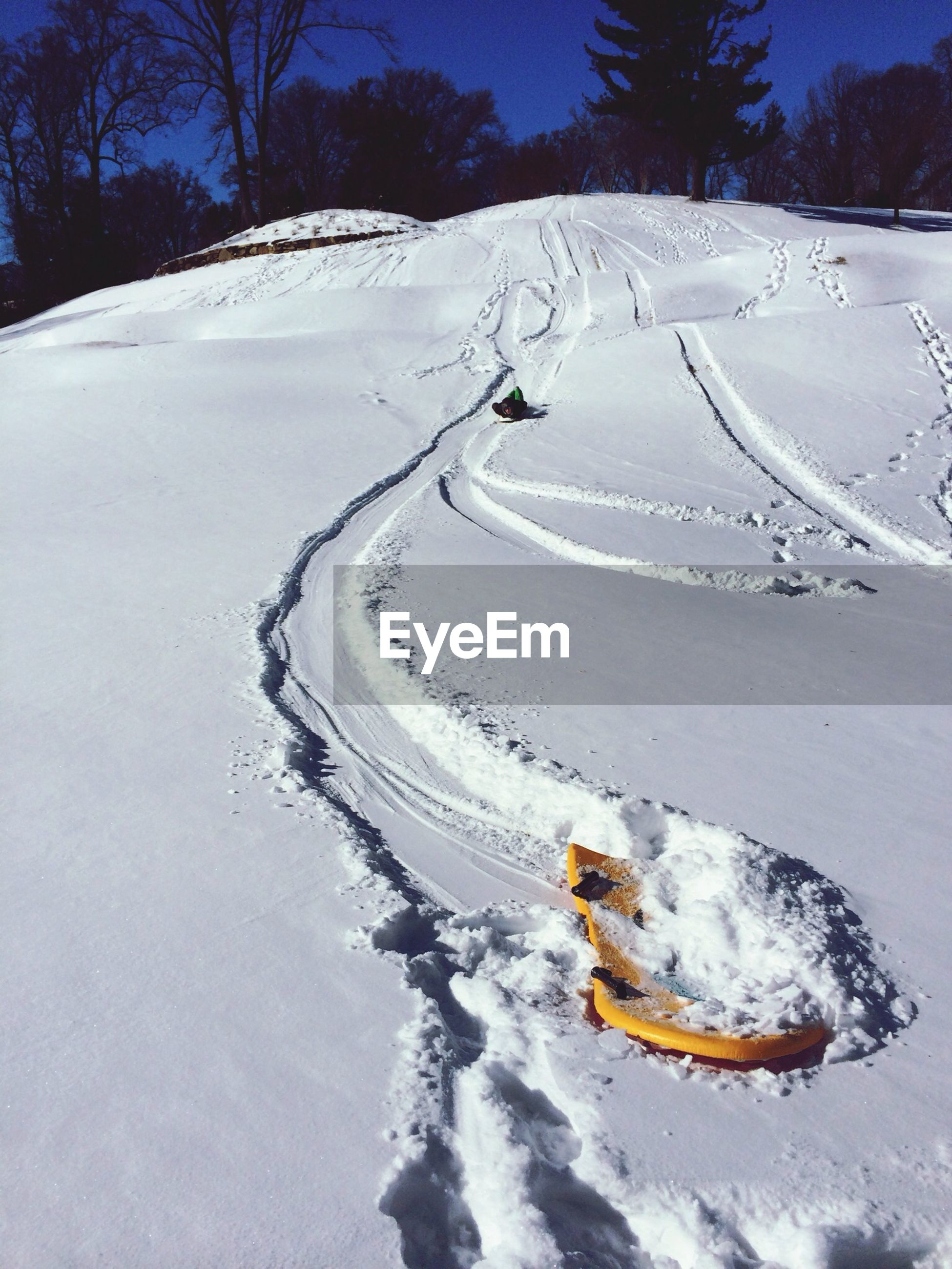 High angle view of sled on snow