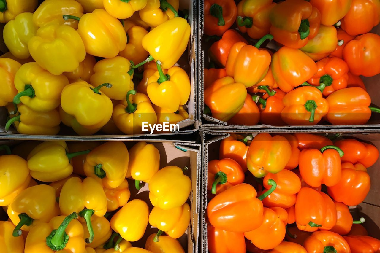 Directly above shot of yellow and orange bell pepper for sale