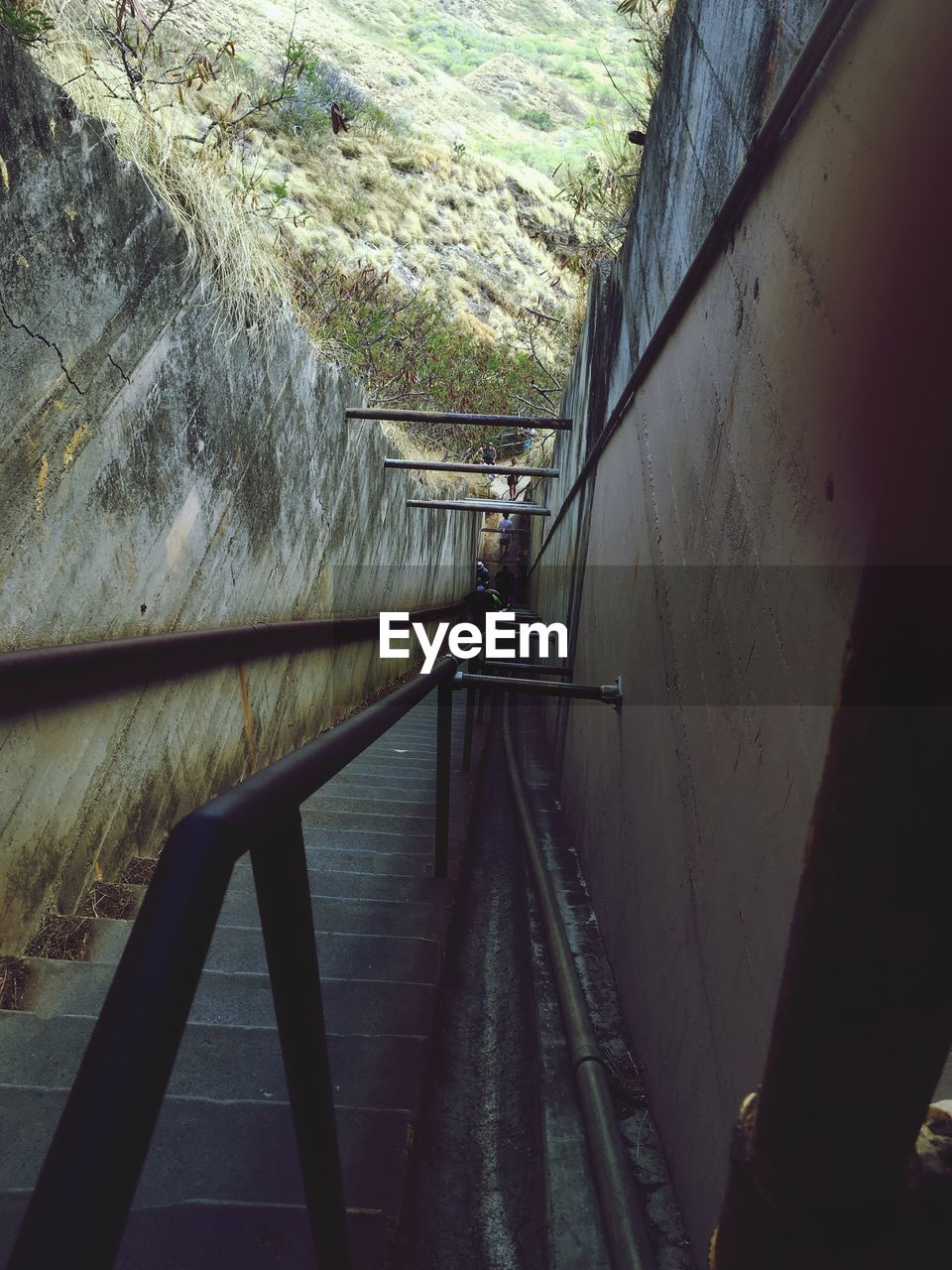 railing, built structure, the way forward, steps and staircases, day, architecture, technology, outdoors, one person, nature, water, hand rail, people