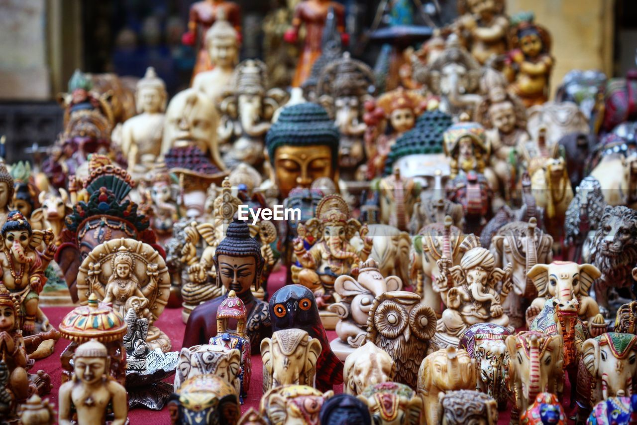 Statues At Market Stall For Sale