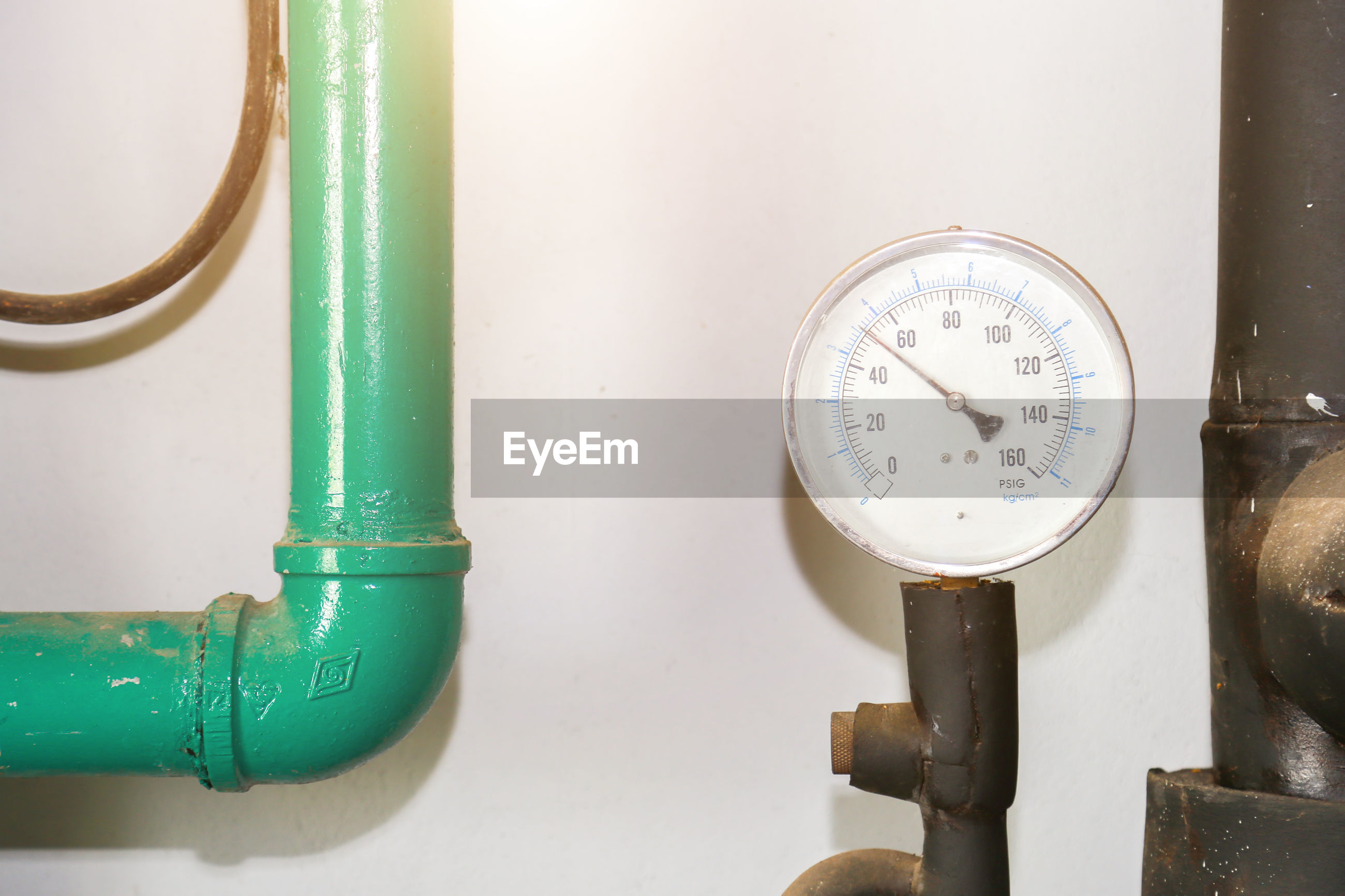 Pressure gauge psi meter in pipe and valves of fire emergency system industry.