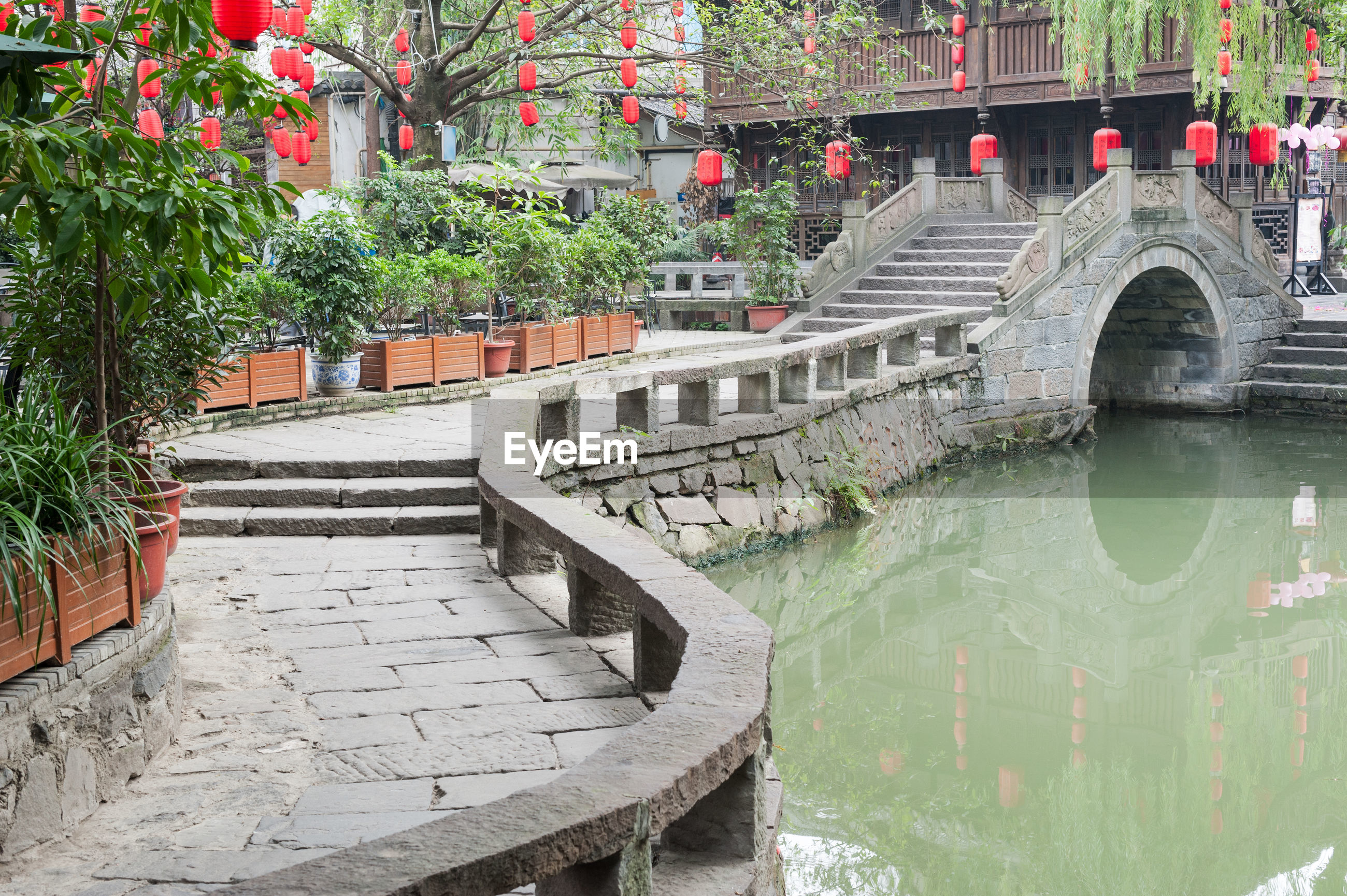Stone bridge over canal in china