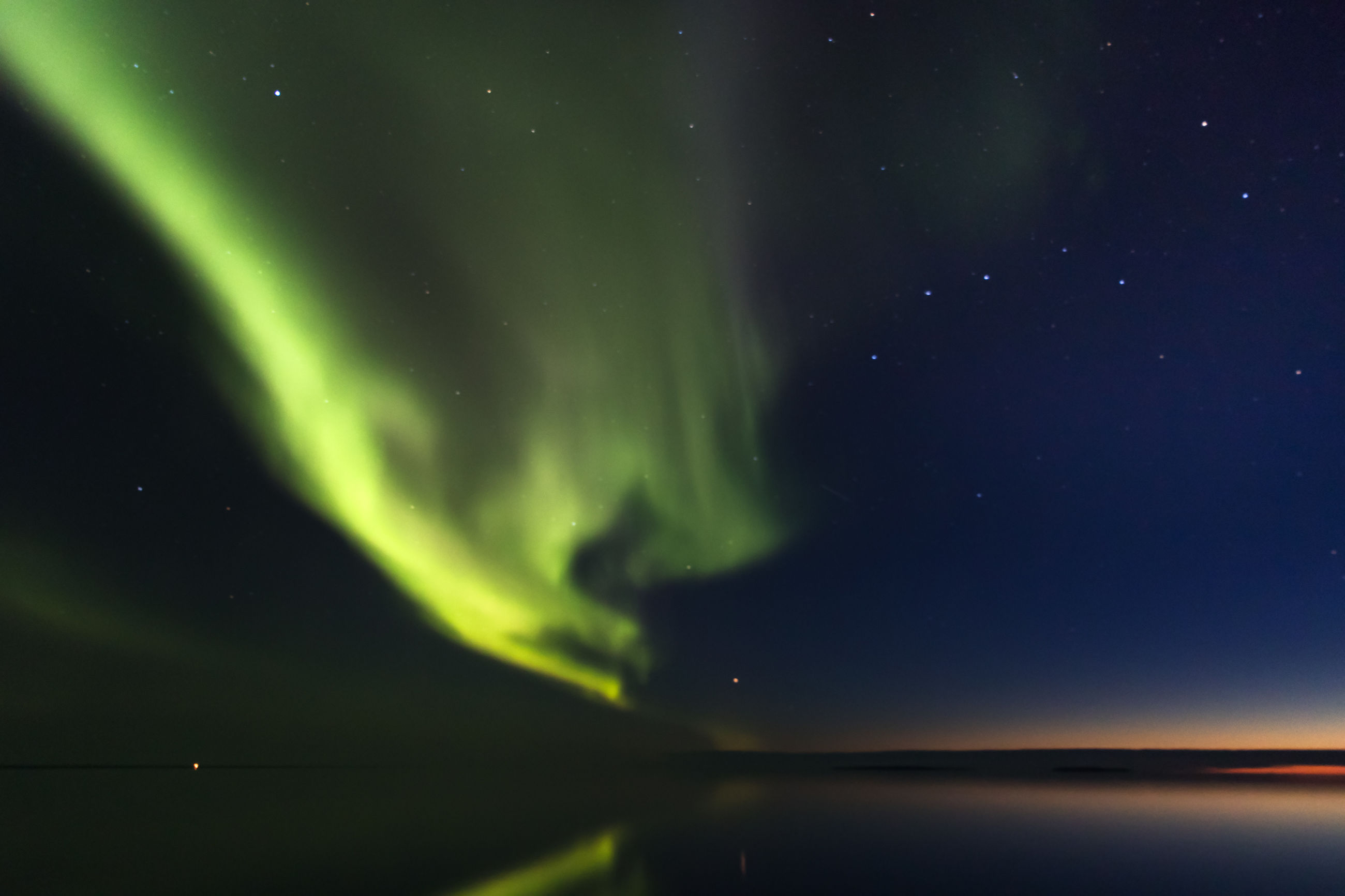 Scenic view of northern boreal lights sky at night
