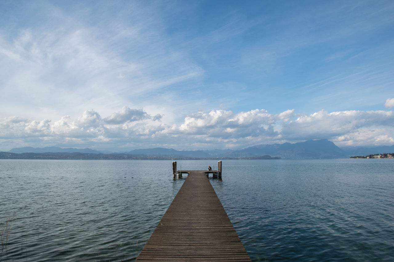 pier, water, jetty, sky, tranquil scene, cloud - sky, sea, tranquility, nature, wood - material, scenics, beauty in nature, day, outdoors, blue, no people, wood paneling