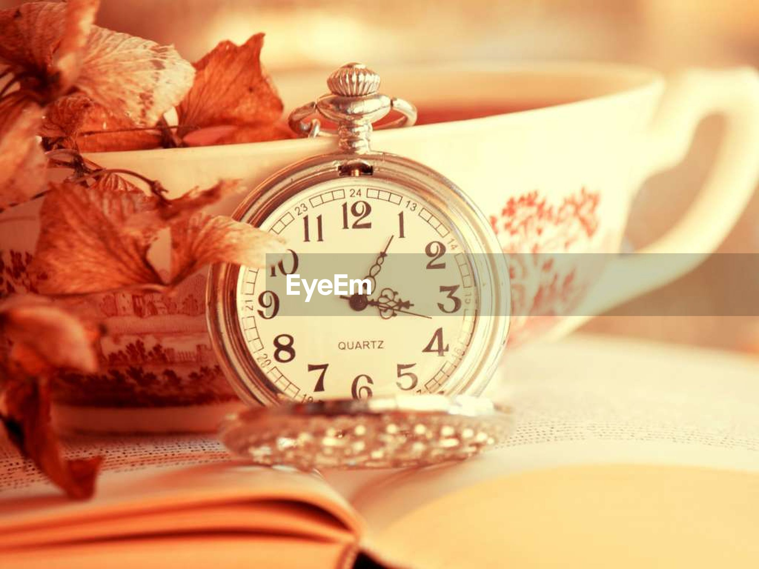 indoors, close-up, still life, table, text, communication, time, single object, wealth, art and craft, no people, antique, number, western script, coin, selective focus, home interior, old-fashioned, focus on foreground, art