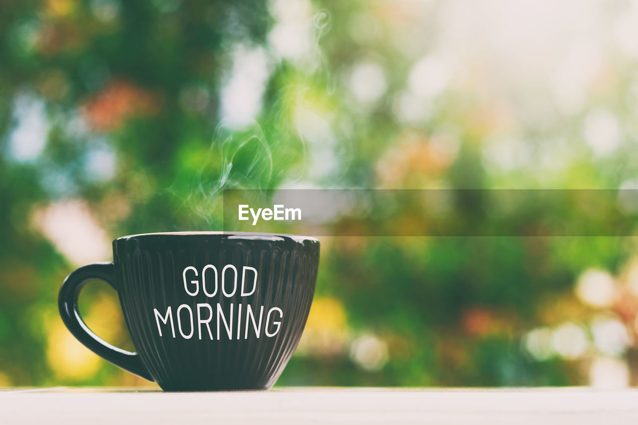 text, western script, focus on foreground, communication, close-up, mug, cup, no people, coffee cup, day, food and drink, green color, outdoors, refreshment, drink, plant, table, capital letter, nature, coffee - drink, tea cup, message