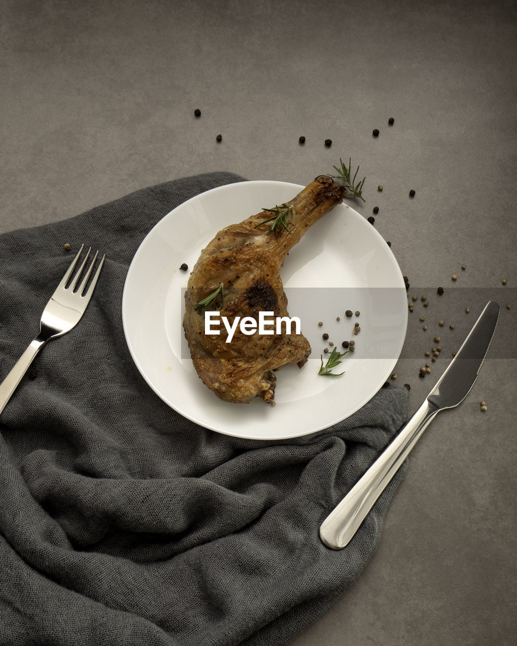 plate, food and drink, food, fork, eating utensil, kitchen utensil, freshness, knife, table knife, ready-to-eat, indoors, still life, high angle view, table, directly above, no people, household equipment, meal, meat, serving size, breakfast, temptation, white meat
