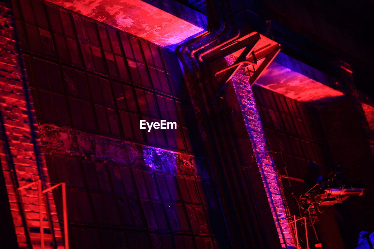 illuminated, building exterior, architecture, built structure, red, night, no people, low angle view, outdoors, neon