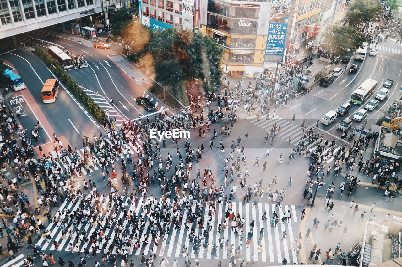 Aerial view of crowd on city street