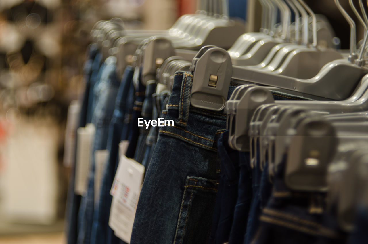 Close-Up Of Jeans In Store