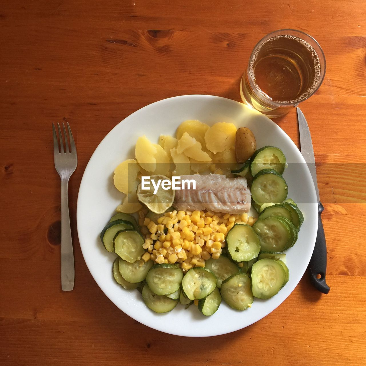 food and drink, plate, fork, freshness, table, food, healthy eating, no people, indoors, directly above, drinking glass, drink, fruit, ready-to-eat, water, day