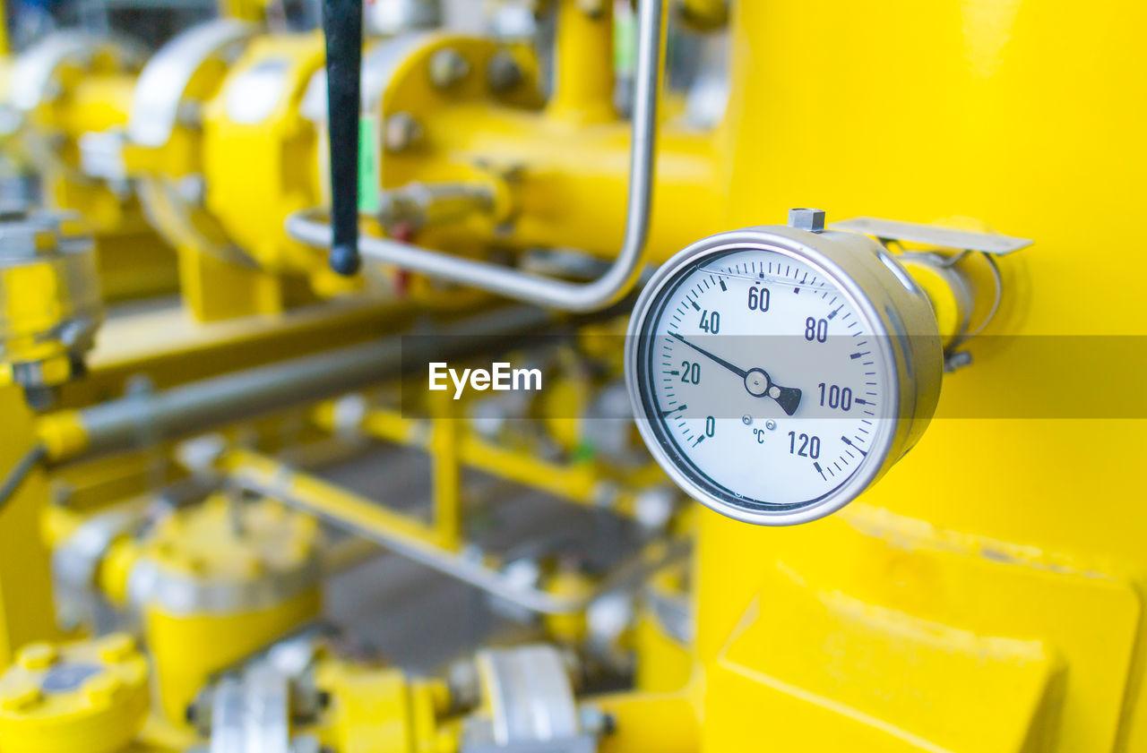 Close-up of yellow gauge