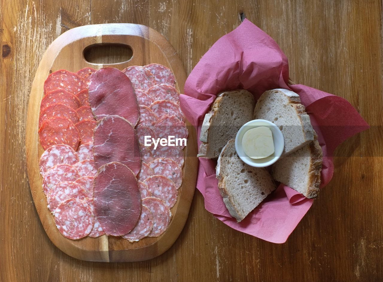 Variety of cold cuts with bread