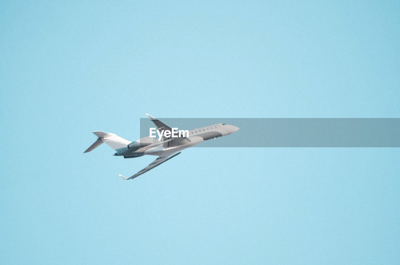 flying, copy space, sky, mid-air, low angle view, blue, bird, motion, clear sky, spread wings, air vehicle, nature, airplane, day, no people, animals in the wild, mode of transportation, animal wildlife, transportation, animal themes, outdoors, seagull, plane