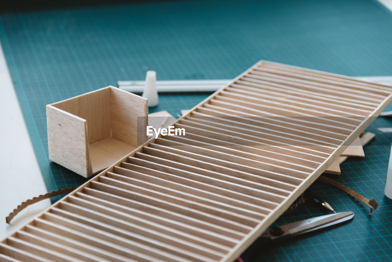 Close-up of cardboard material on table