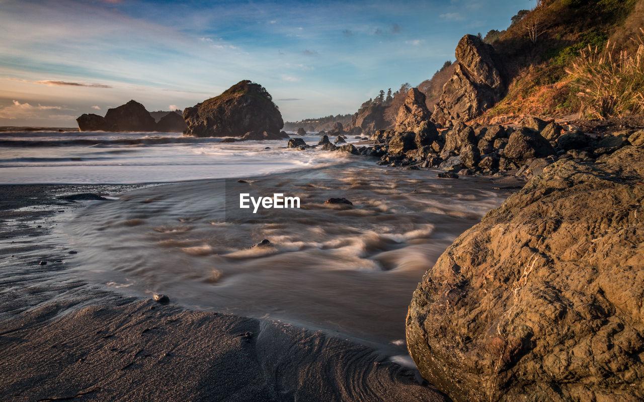Scenic View Of Coastline Against Sky