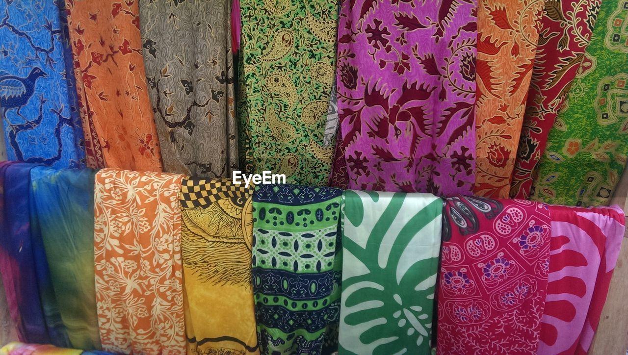Full frame shot of sarongs on display at market