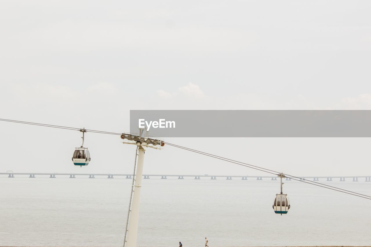 sky, nature, no people, connection, day, architecture, water, lighting equipment, built structure, cable, transportation, copy space, cloud - sky, outdoors, sea, bridge, hanging, overhead cable car, low angle view, light