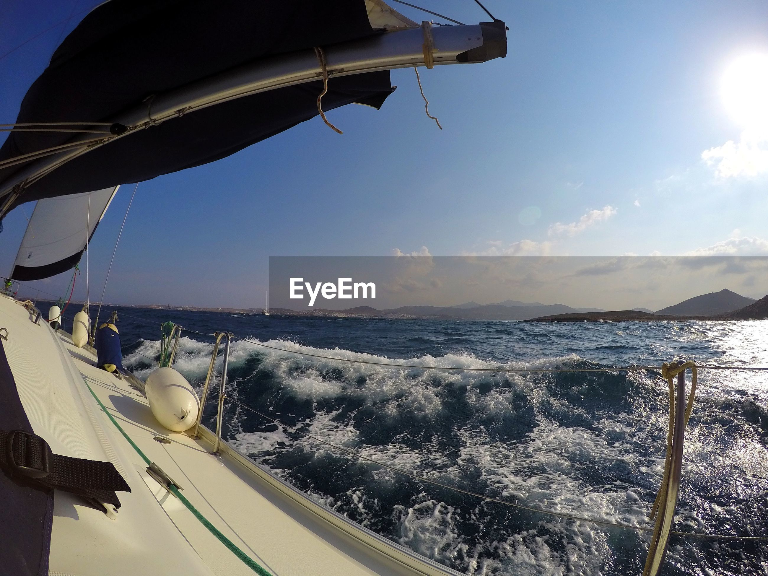 View of sea seen through nautical vessel against sky