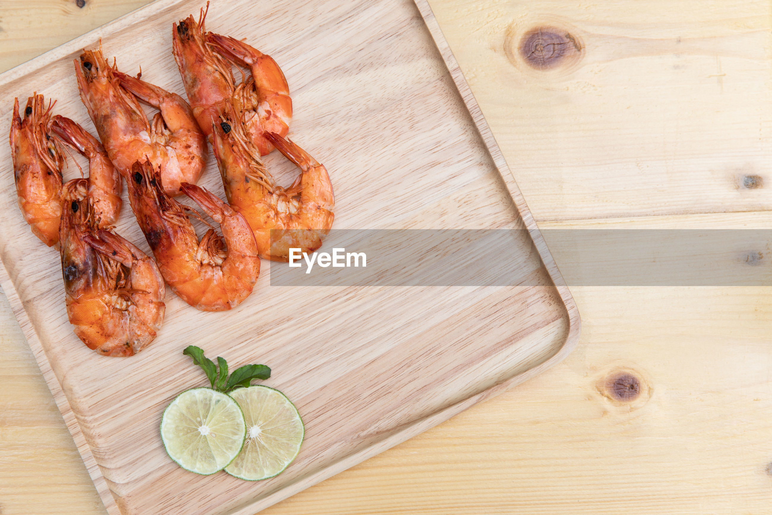 High angle view of seafood on cutting board