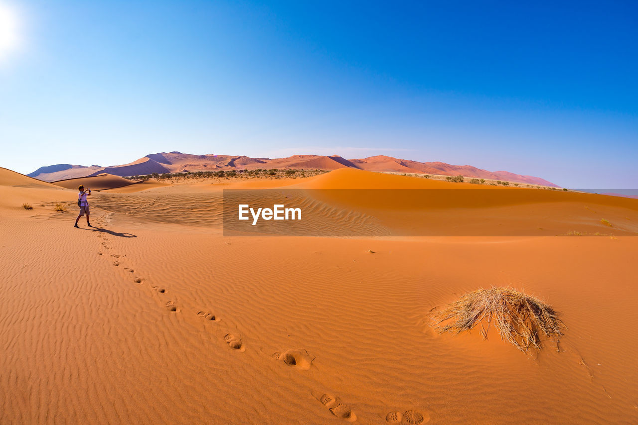 Rear View Of Woman Standing On Desert Against Sky