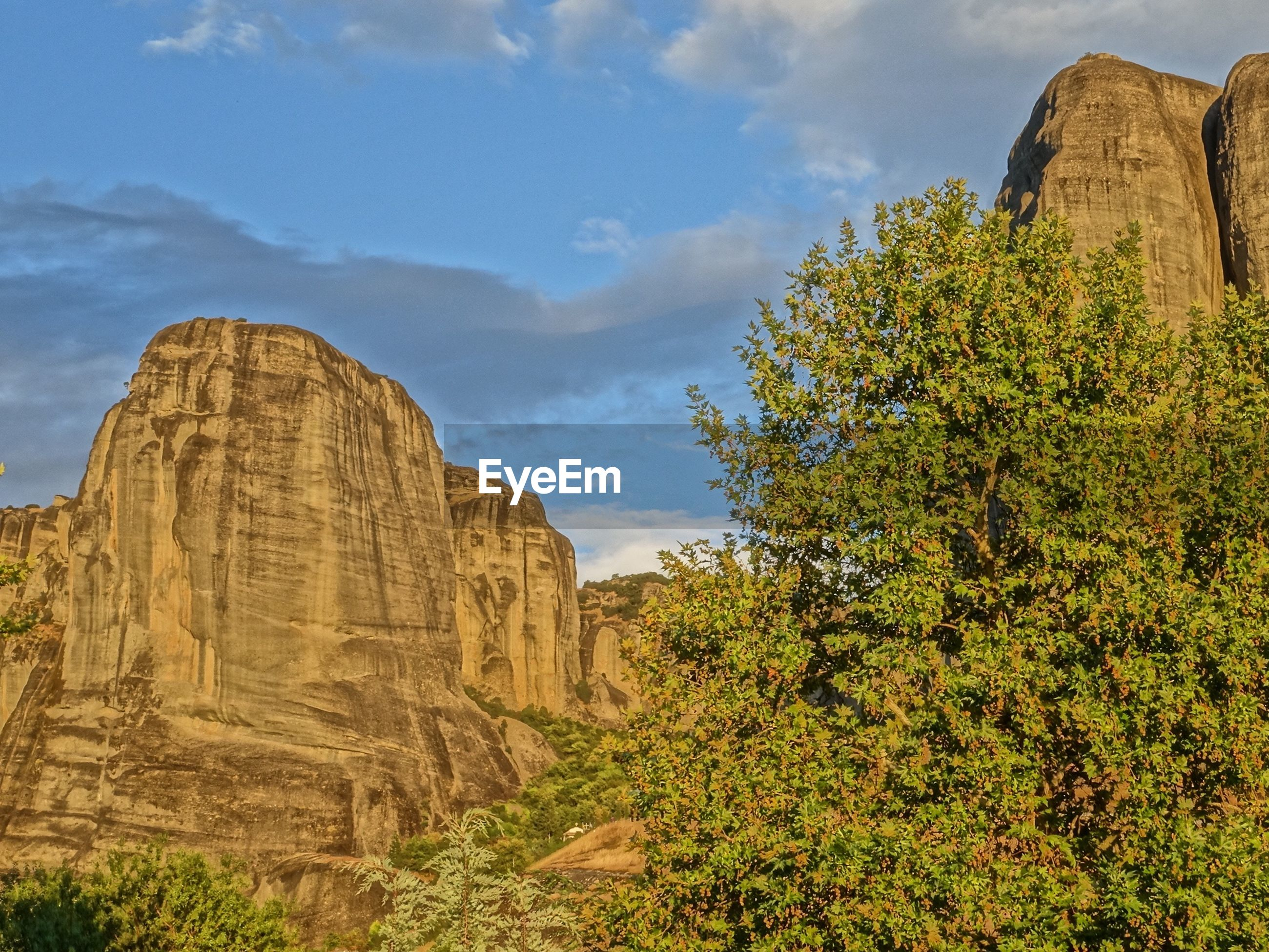 sky, tranquility, tree, nature, rock formation, beauty in nature, tranquil scene, scenics, growth, rock - object, landscape, plant, low angle view, cloud - sky, cloud, green color, non-urban scene, travel destinations, day, outdoors