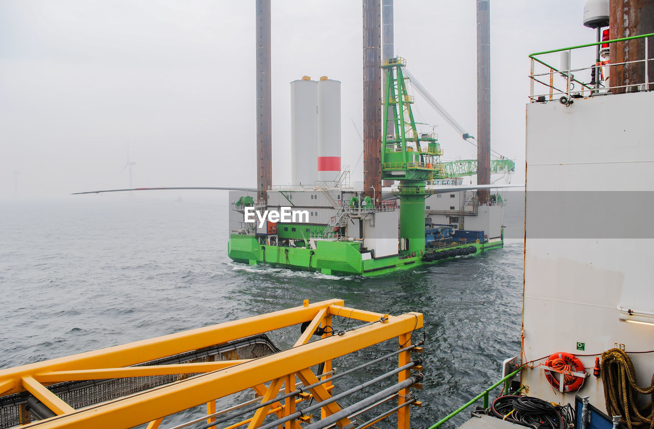 Construction Platform In Sea During Foggy Weather