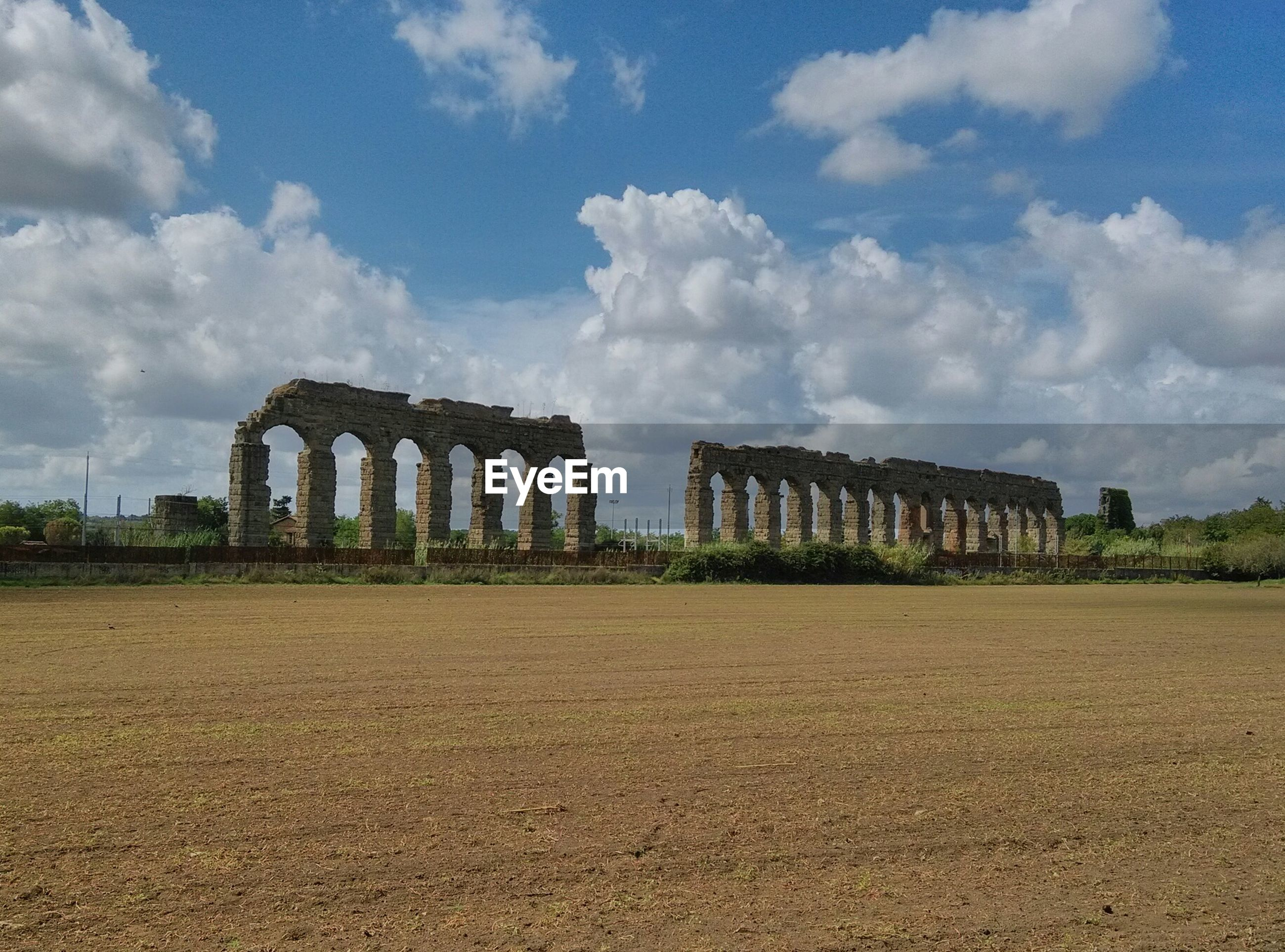 View of ruined columns against the sky