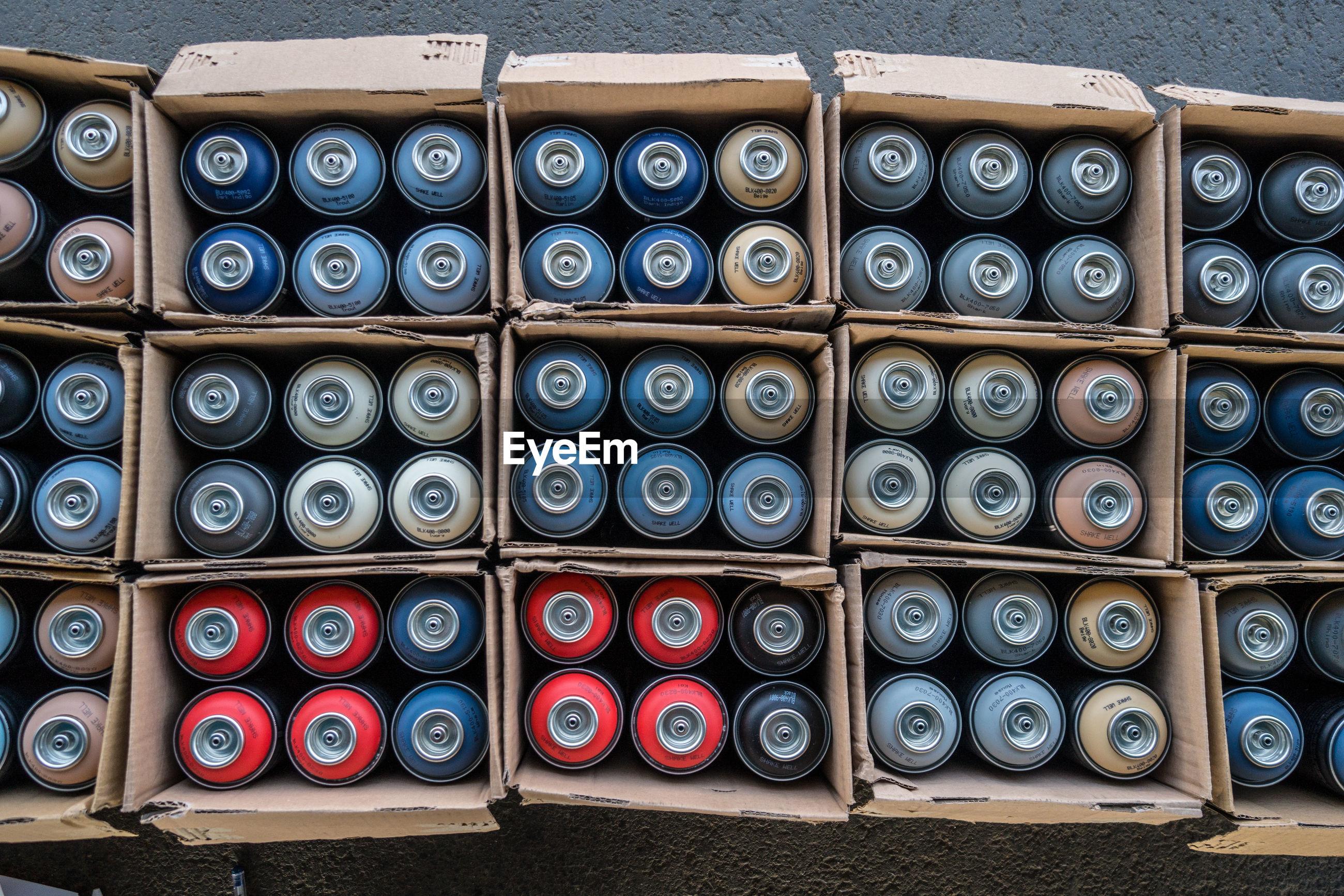 Full frame shot of oxygen cylinders