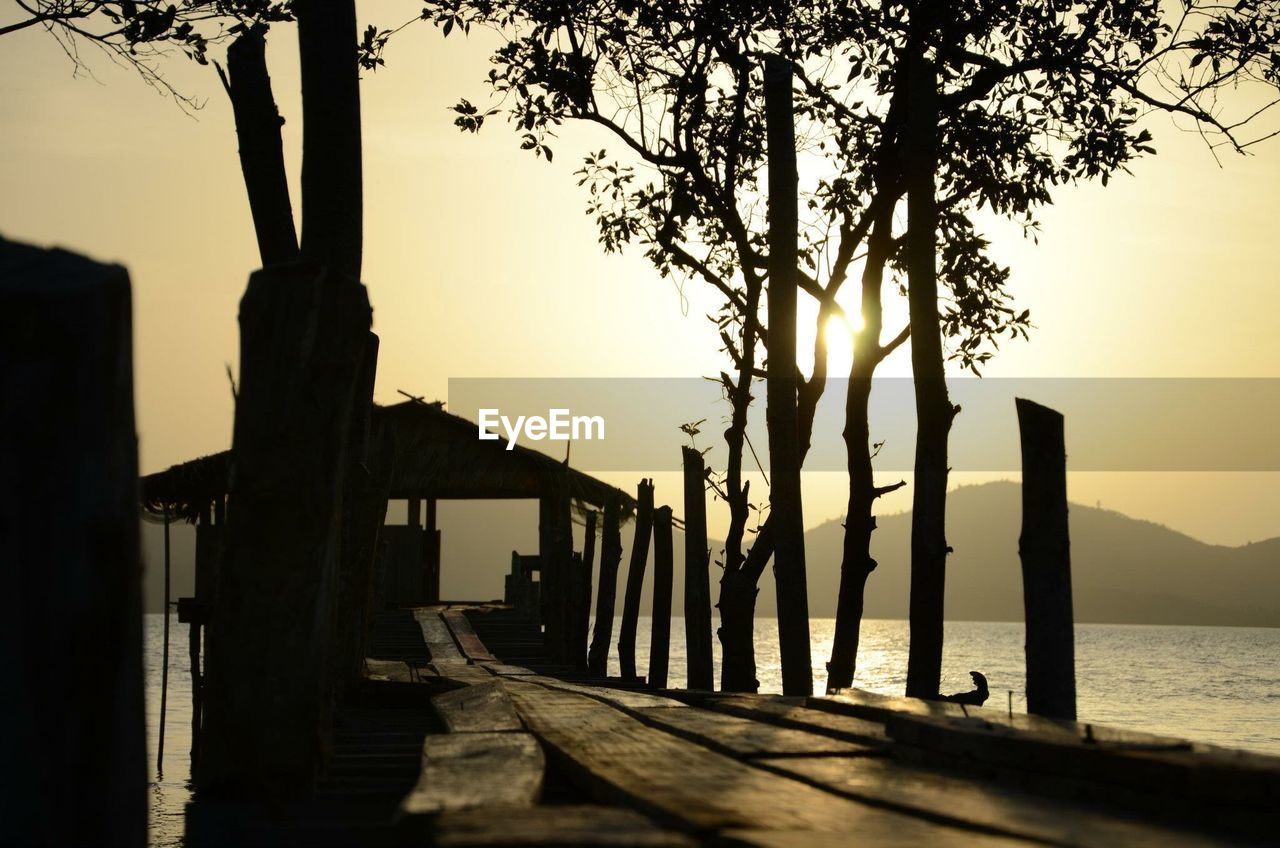 tree, water, sky, sunset, plant, nature, beauty in nature, silhouette, sea, scenics - nature, tranquility, tranquil scene, no people, architecture, built structure, outdoors, orange color, wood - material, tree trunk, sun, wooden post