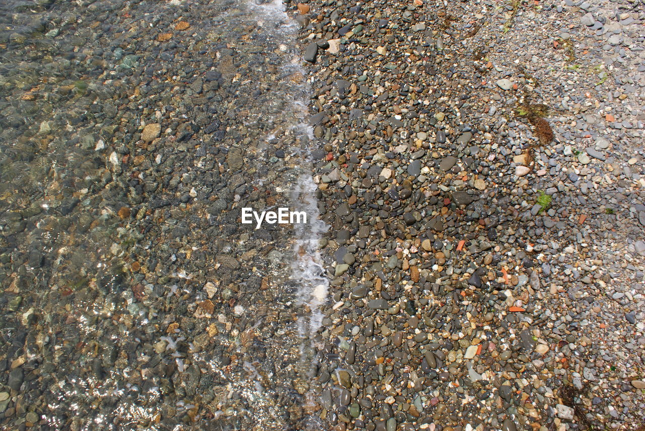 full frame, backgrounds, rock - object, textured, day, outdoors, high angle view, nature, no people, close-up, water, pebble beach
