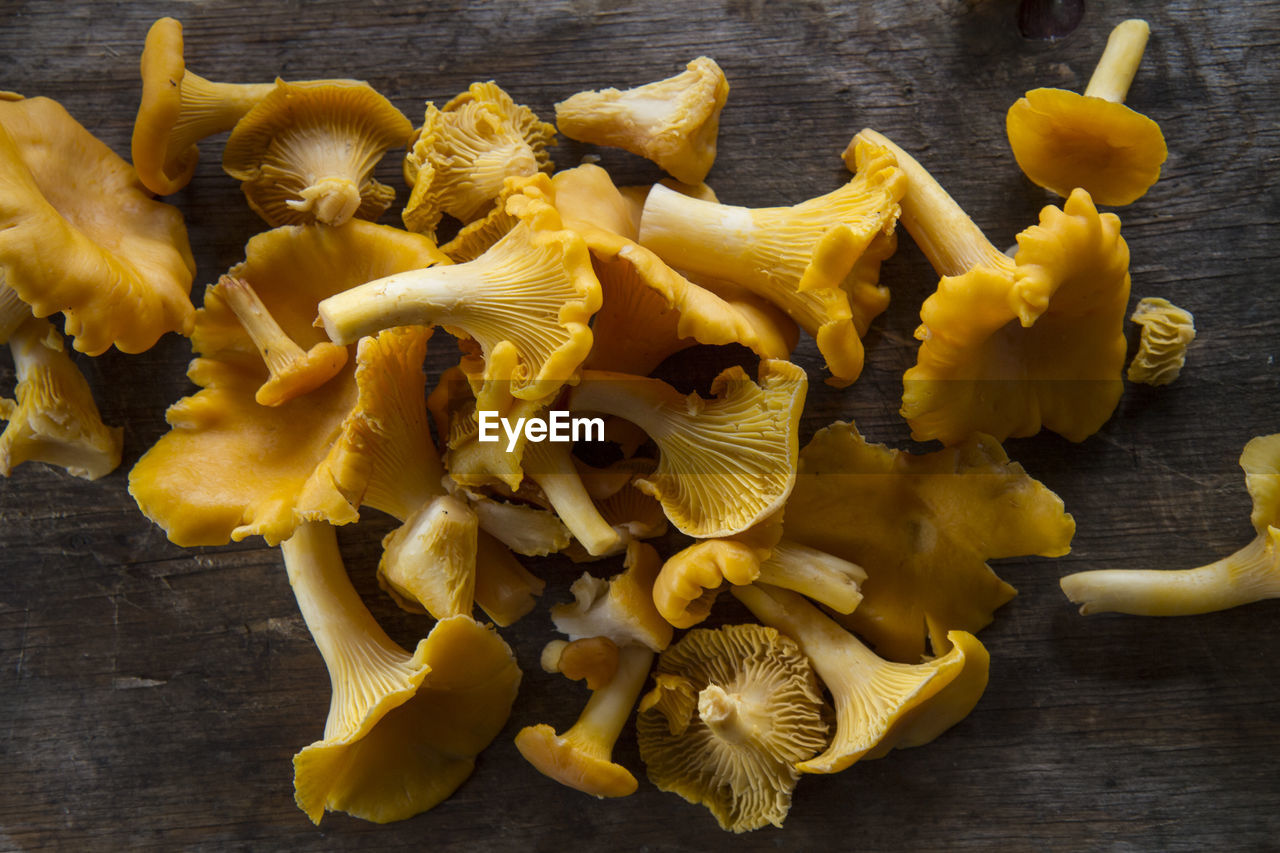 yellow, food, freshness, food and drink, table, still life, wood - material, close-up, indoors, high angle view, no people, wellbeing, pasta, raw food, mushroom, healthy eating, italian food, edible mushroom, fungus, directly above
