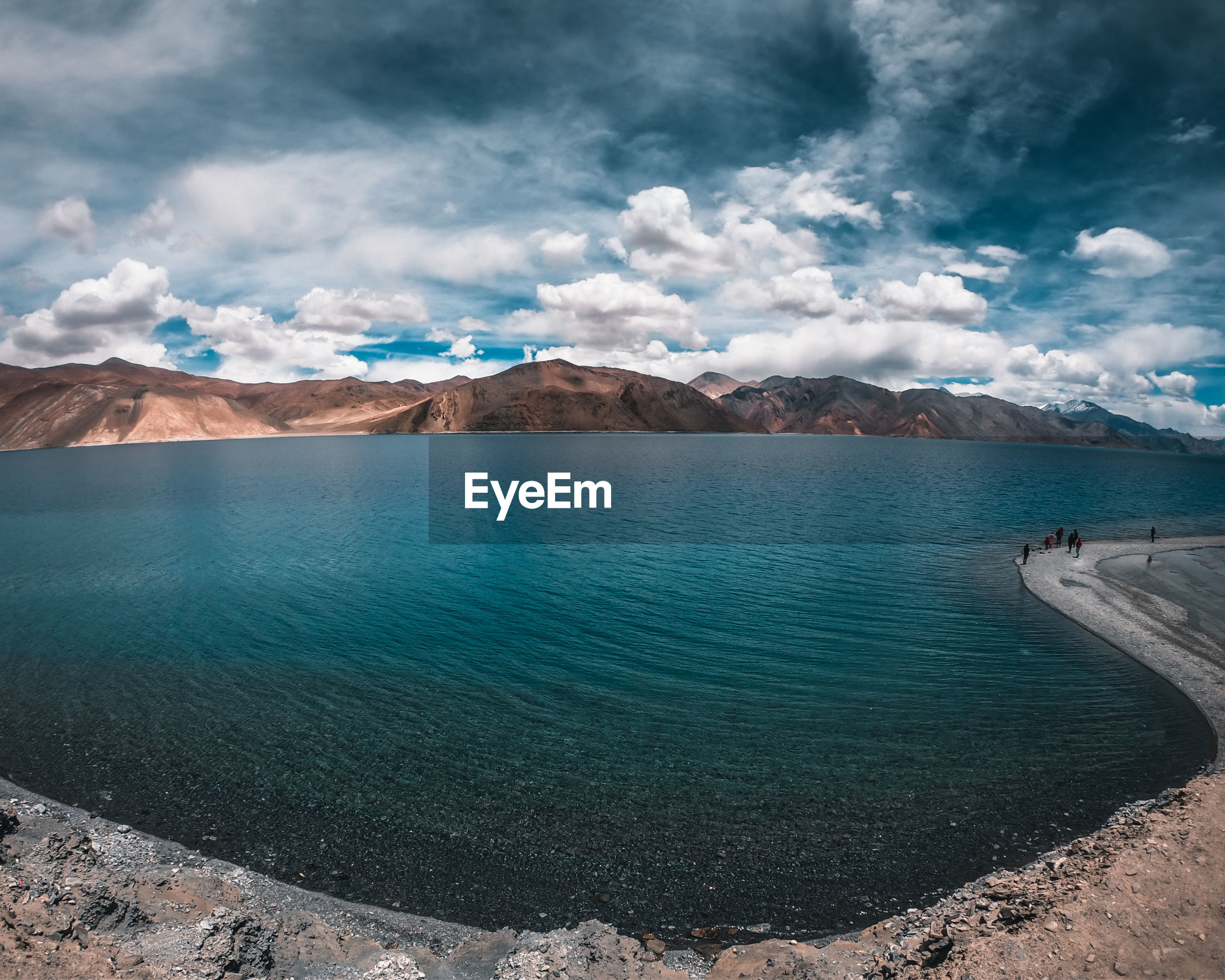Scenic view of pangong lake against sky