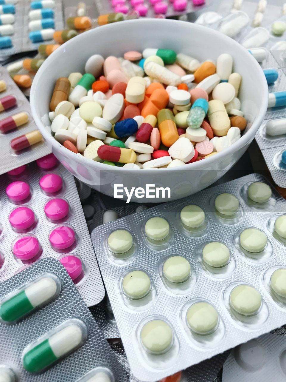 High Angle View Of Multi Colored Medicines