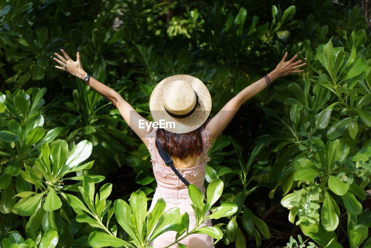 Woman Wearing Hat On Tree