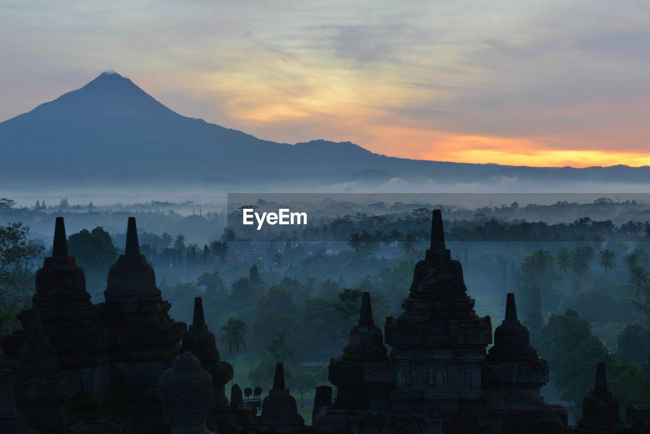 Pagoda Against Cloudy Sky At Dusk