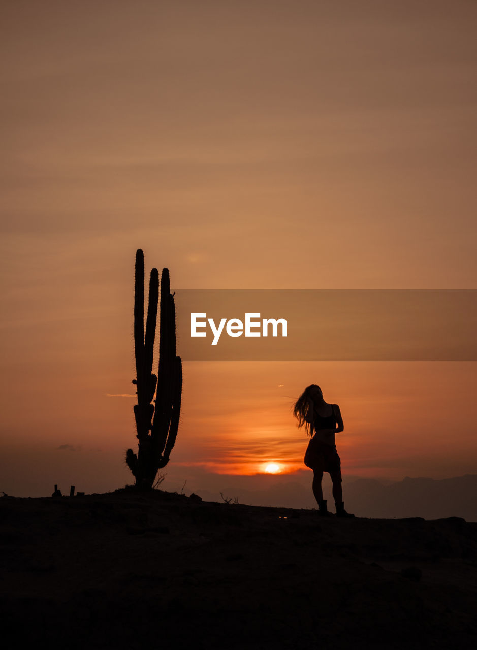 Silhouette woman standing by cactus on field at sunset
