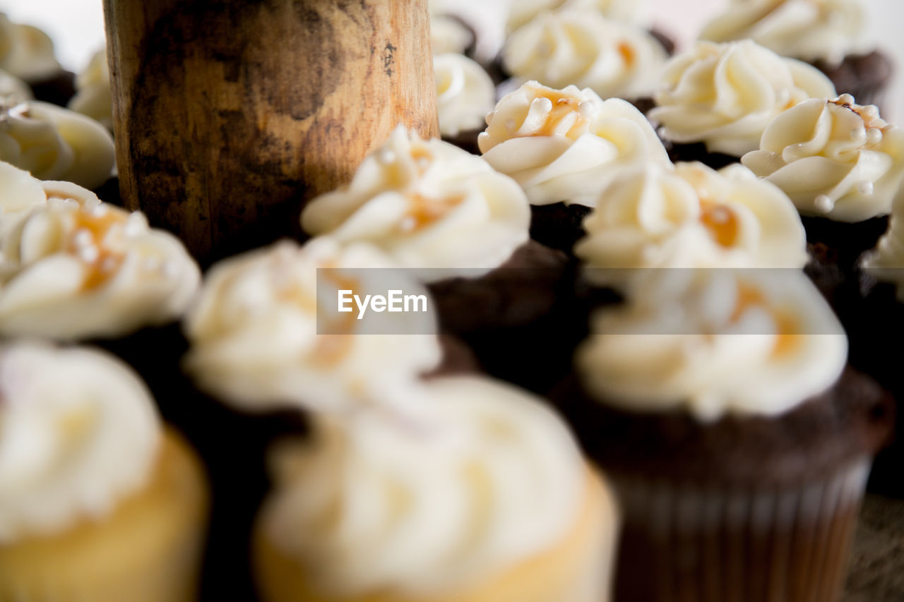 Close-Up Of Vanilla And Chocolate Cupcakes