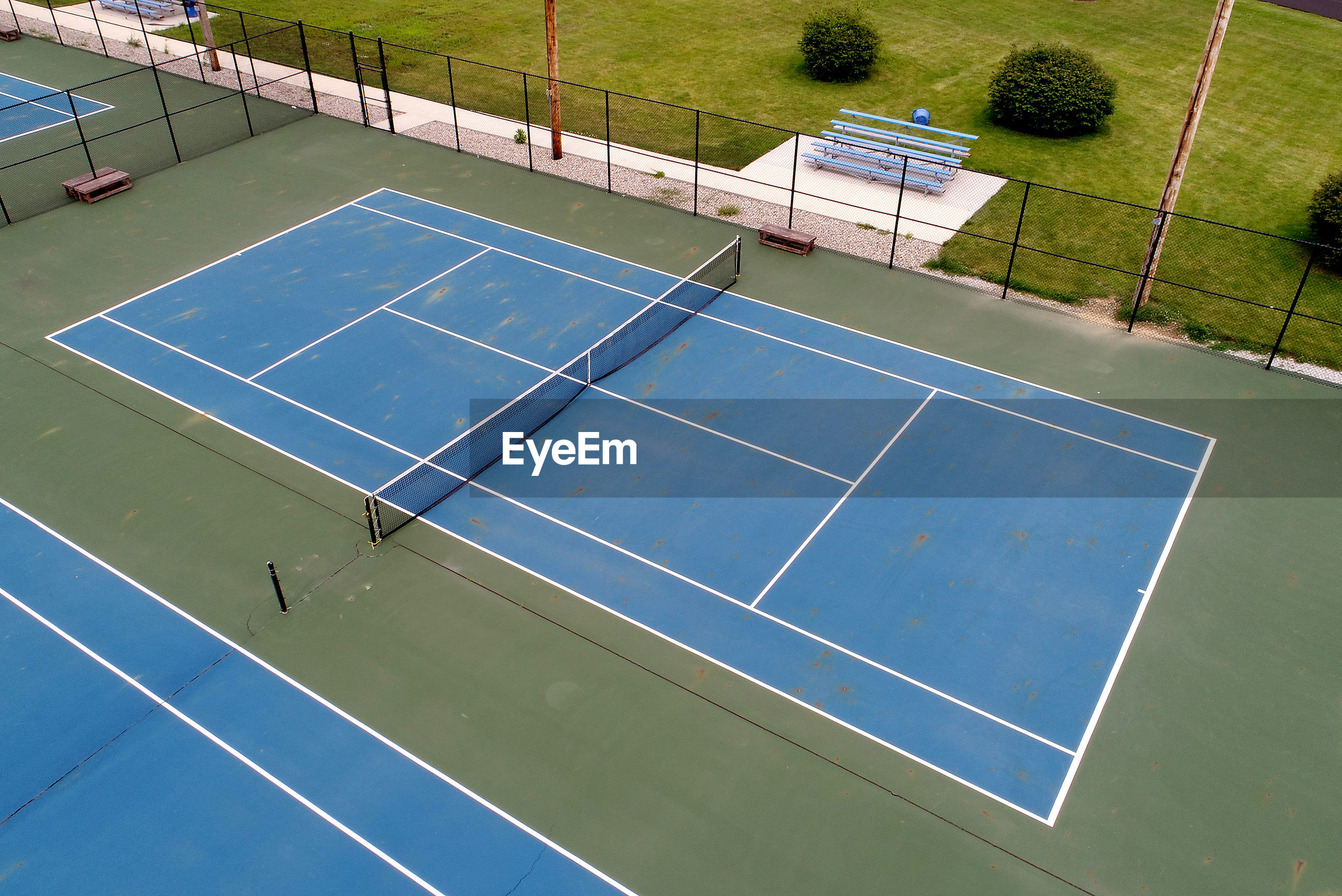 High angle view of tennis court