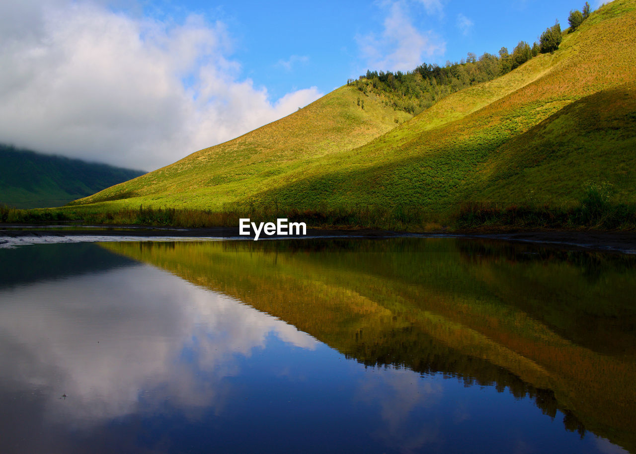 reflection, sky, tranquil scene, lake, water, mountain, scenics, beauty in nature, nature, waterfront, tranquility, cloud - sky, outdoors, mountain range, no people, day, landscape, grass